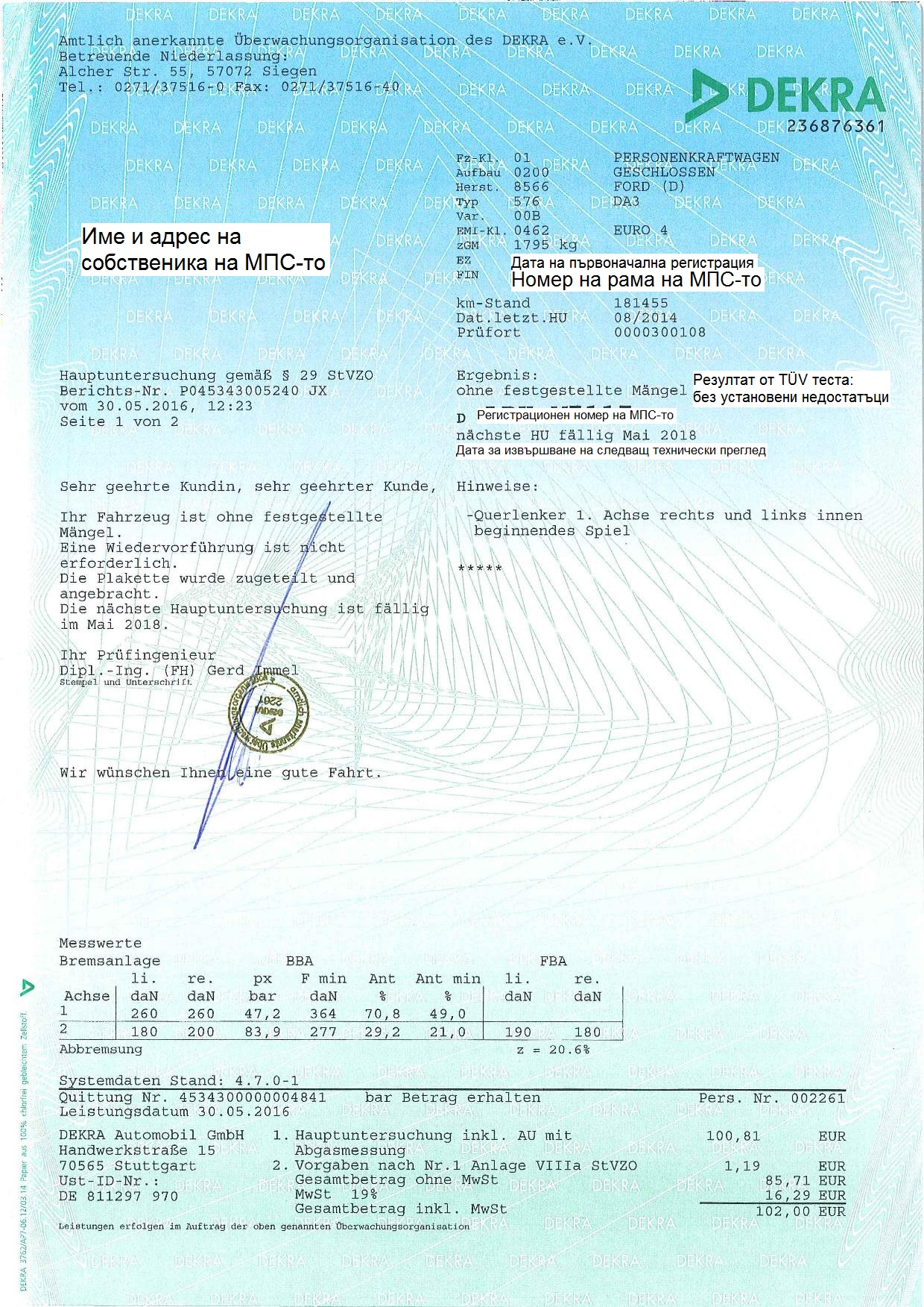 Document for successful completion of TÜV Dekra test (technical check)