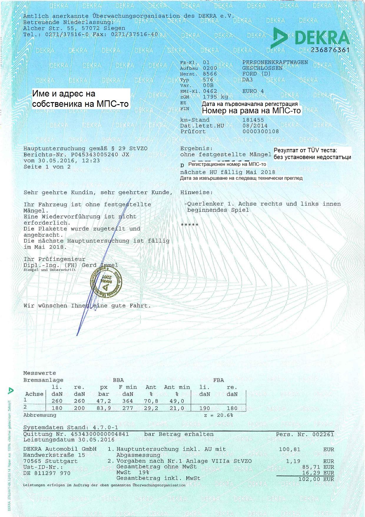 Отзыв TÜV Dekra для прохождения теста