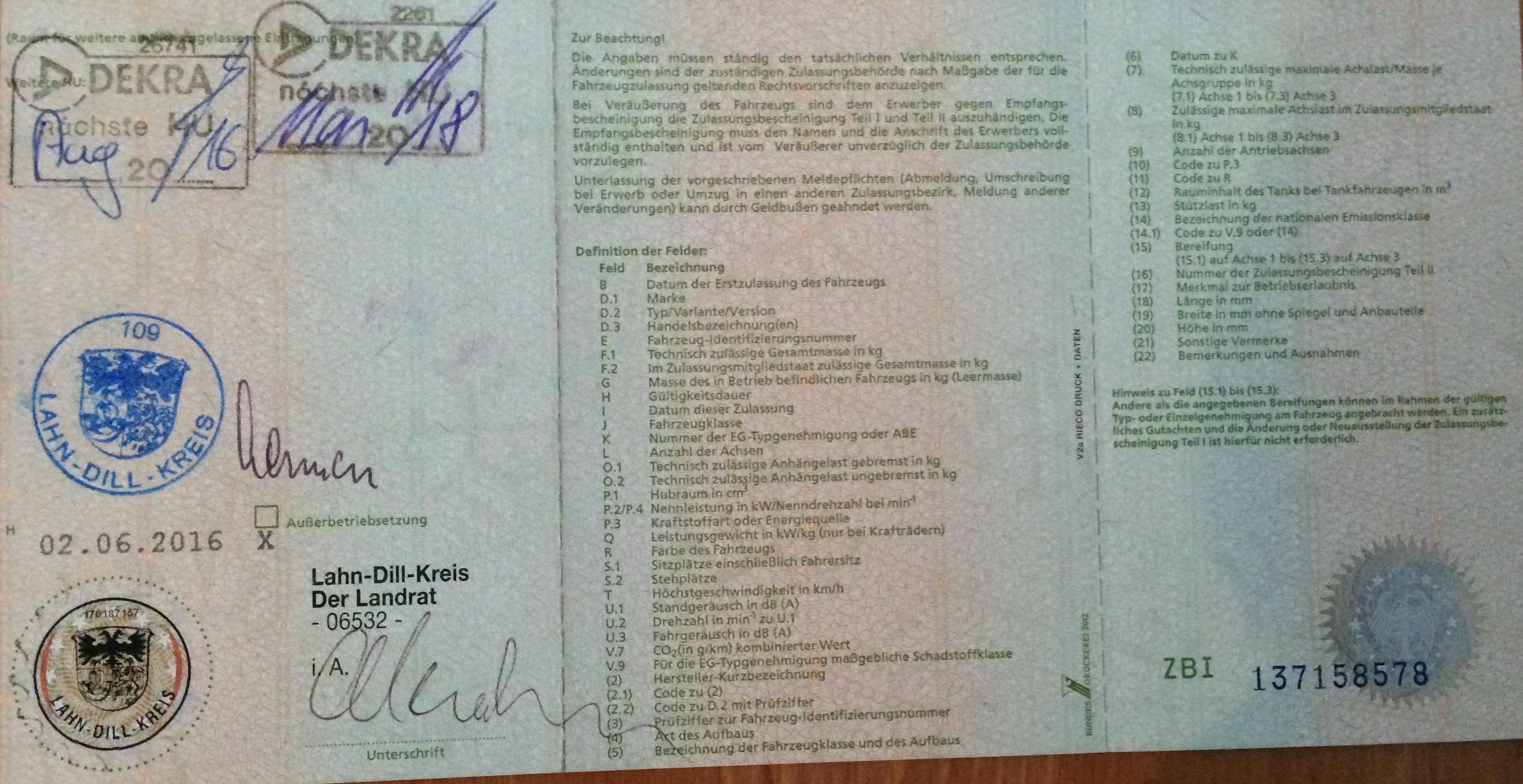 Zulassungsbescheinigung Teil I (the small registration document) Back side