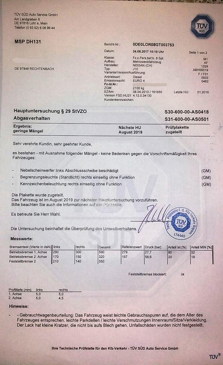 TÜV Nissan Qashqai 2010-та, 2.0 dCi, 150 к.с.; 04.09.2017