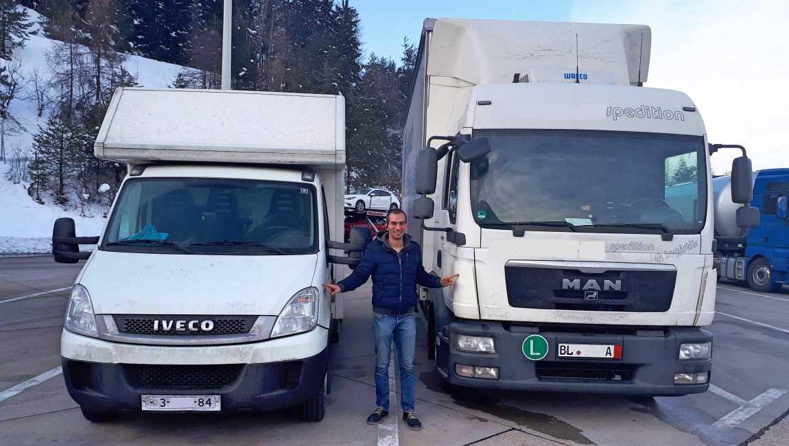 Внос на собствен ход на микробус Iveco 50c17 от Холандия и Камион MAN TGL 8.220 с ремарке от Германия