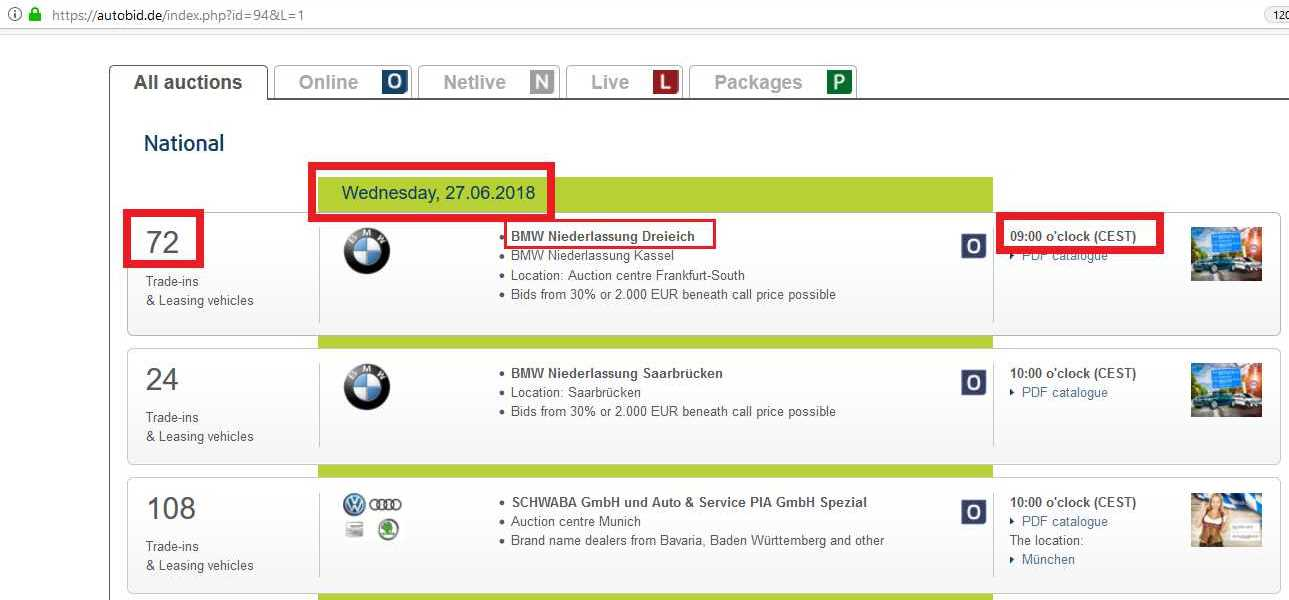 Страница с аукционите - autobid.de
