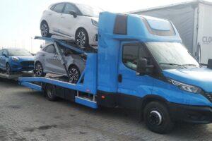 Транспорт, превоз, платформа, автовоз на чисто нови автомобили, коли, от Германия до България