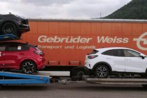 51. Транспорт, превоз, платформа, автовоз на чисто нови Ford Puma от Румъния за Австрия