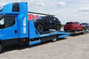 54. Транспорт, превоз, платформа, автовоз на чисто нови Ford Puma от Румъния до Австрия