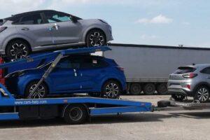 61. Транспорт, превоз, платформа, автовоз на чисто нови Ford Puma от Румъния за Швейцария